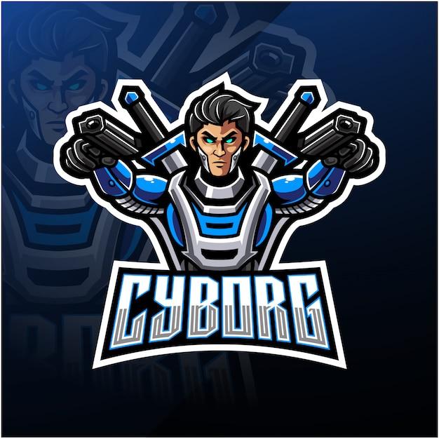 Projektowanie Logo Maskotka Cyborg Esport Premium Wektorów