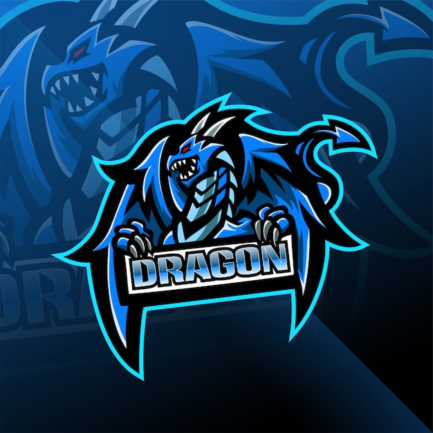 Projektowanie Logo Maskotka Dragon Esport Premium Wektorów