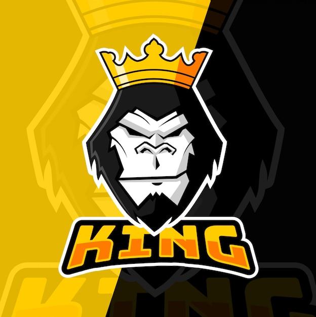 Projektowanie Logo Maskotka Goryl Król Maskotka Premium Wektorów