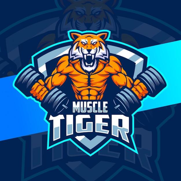 Projektowanie Logo Maskotka Mięśni Fitness Tygrys Premium Wektorów