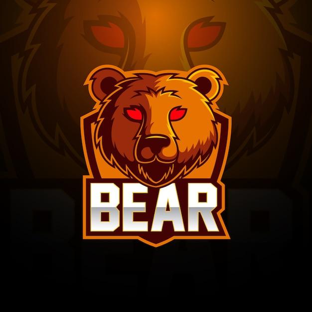 Projektowanie Logo Maskotka Niedźwiedź Esport Premium Wektorów