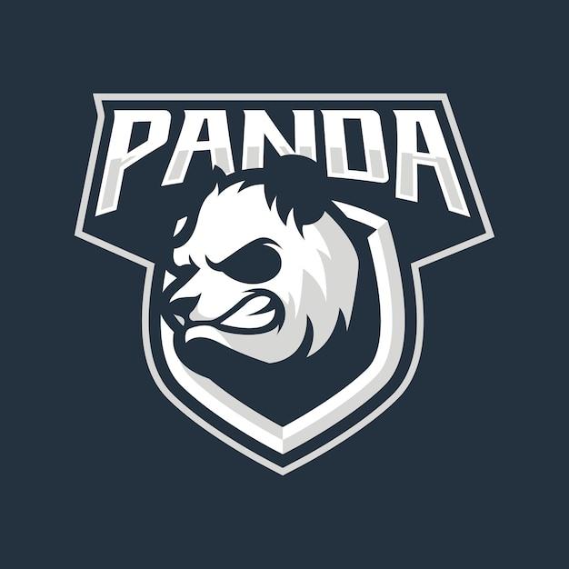 Projektowanie Logo Maskotka Panda Na Niebieskim Tle Premium Wektorów