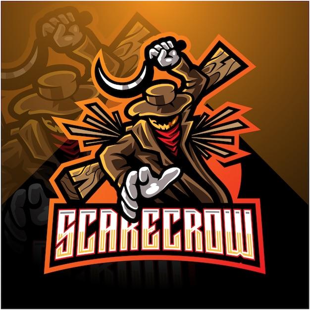 Projektowanie Logo Maskotka Scarecrow Esport Premium Wektorów
