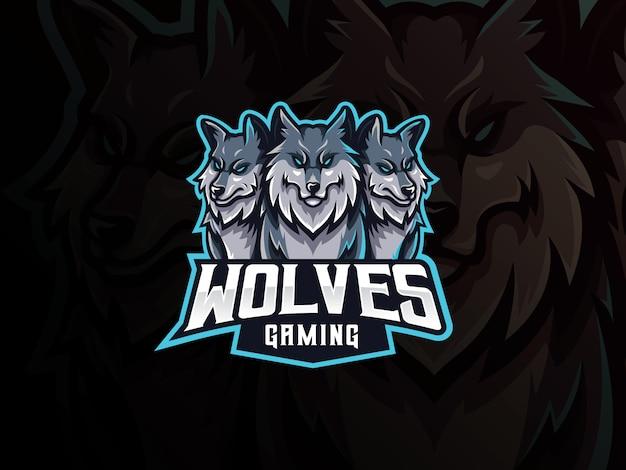 Projektowanie Logo Maskotka Wilki Premium Wektorów