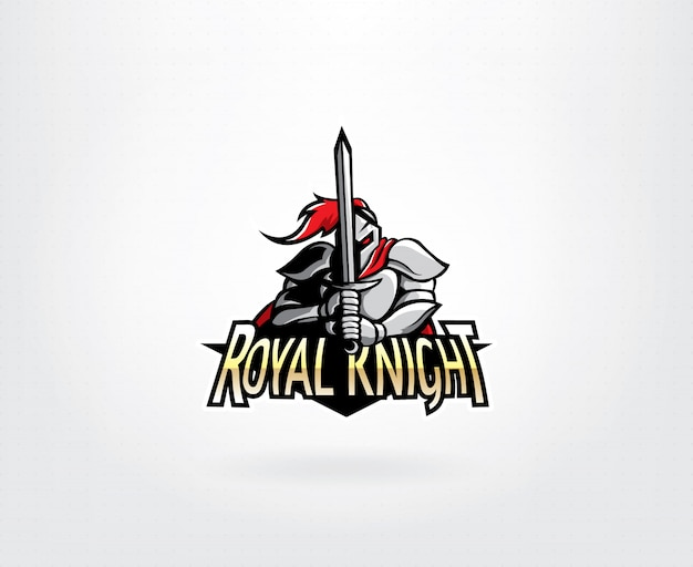 Projektowanie logo maskotka wojownik rycerz Premium Wektorów