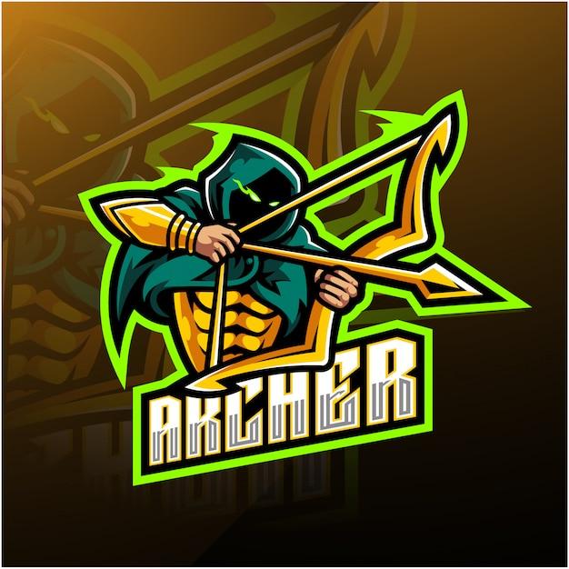 Projektowanie logo maskotki archer esport Premium Wektorów