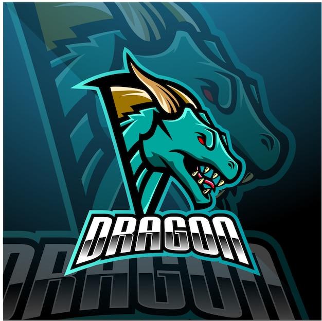Projektowanie Logo Maskotki Dragon Head Esports Premium Wektorów