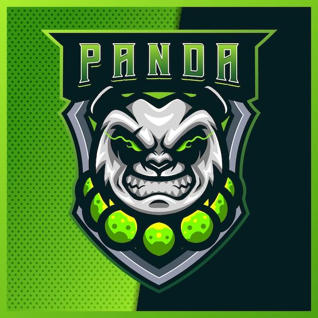Projektowanie Logo Maskotki E-sportowej I Sportowej Panda Monk Z Nowoczesną Ilustracją. Niedźwiedź Ilustracja Premium Wektorów