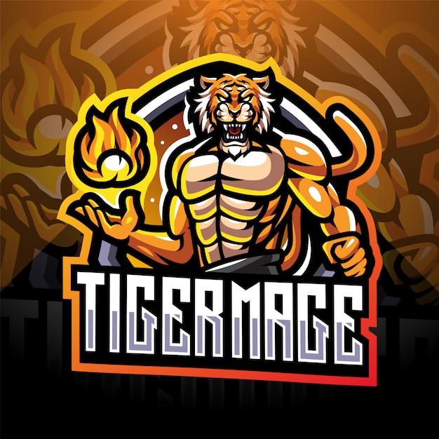 Projektowanie Logo Maskotki E-sportowej Tiger Mage Premium Wektorów