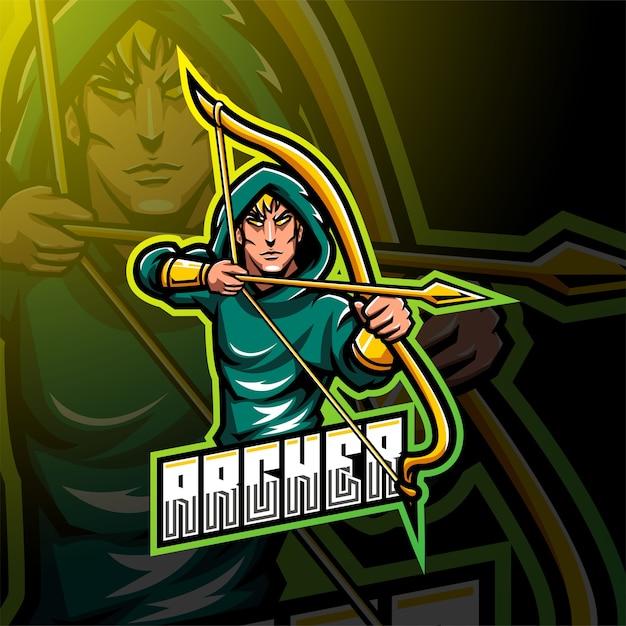 Projektowanie Logo Maskotki Esport Archer Premium Wektorów