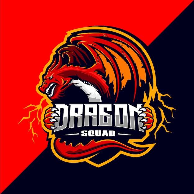 Projektowanie Logo Maskotki Esport Dragon Squad Premium Wektorów