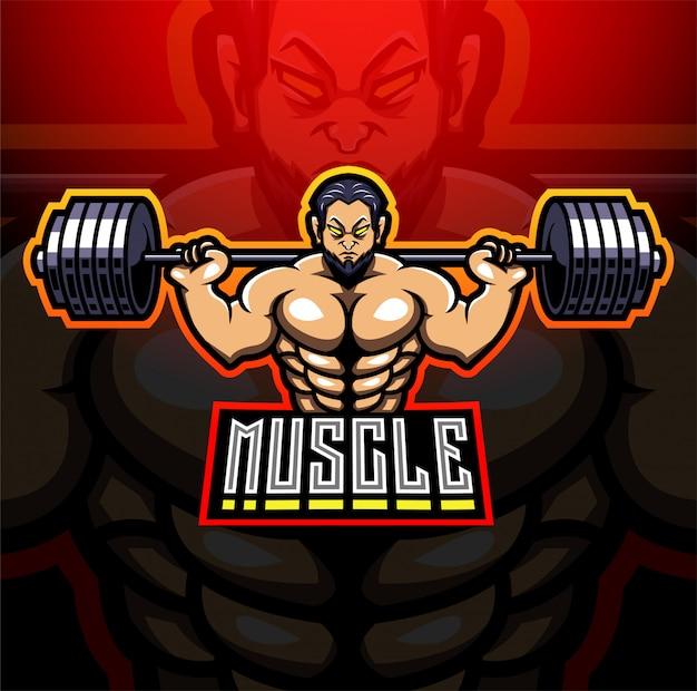 Projektowanie Logo Maskotki Esport Muscle Man Premium Wektorów