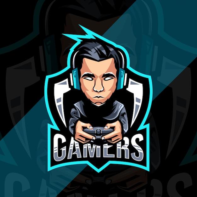 Projektowanie Logo Maskotki Graczy Premium Wektorów