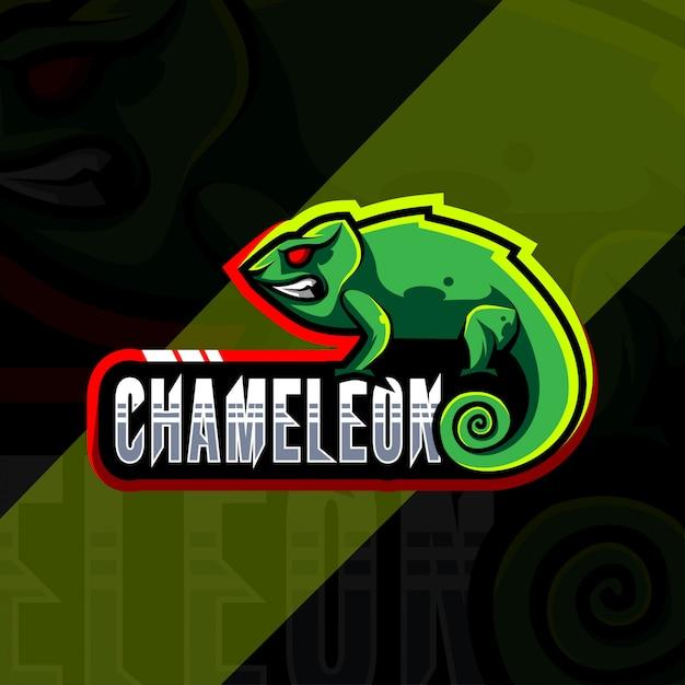 Projektowanie Logo Maskotki Kameleona Premium Wektorów