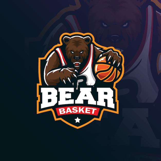 Projektowanie Logo Maskotki Niedźwiadkowej Koszykówki Z Nowoczesnym Ilustracyjnym Stylem Koncepcyjnym Drukowania Znaczków, Emblematów I Tshirtów. Premium Wektorów
