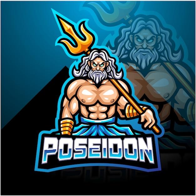 Projektowanie Logo Maskotki Poseidon Z Trójzębem Premium Wektorów