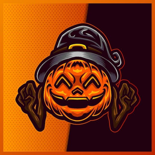 Projektowanie Logo Maskotki Sportowej I Maskotki Pumpkin Wizard. Premium Wektorów