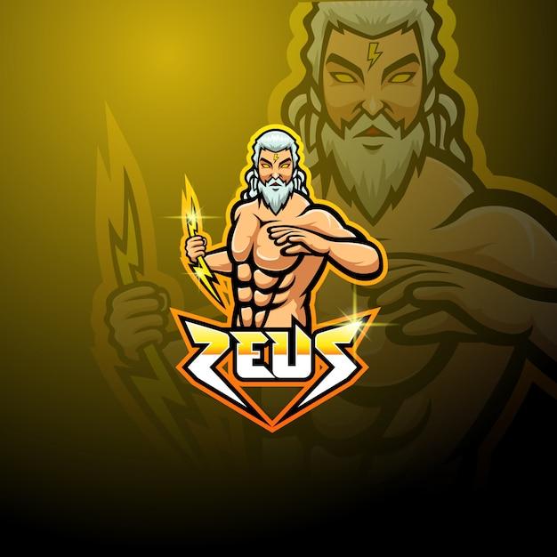 Projektowanie Logo Maskotki Zeus Esport Premium Wektorów