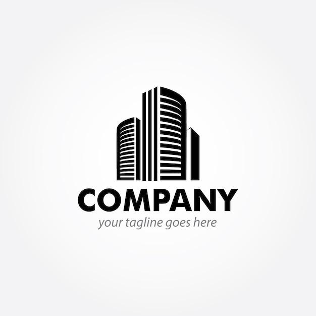 Projektowanie logo nowoczesnego budynku Premium Wektorów
