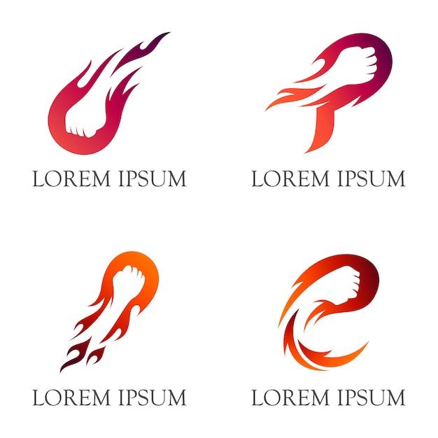 Projektowanie Logo Ognia Pięści / Ognisty Cios Z Negatywnym Stylem Przestrzeni Premium Wektorów
