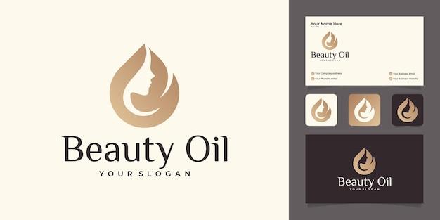 Projektowanie Logo Olejku Uroda Kobiety Z Szablonem Projektu Twarzy Kobiety I Oliwy Z Oliwek Oraz Wizytówką Premium Wektorów
