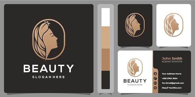 Projektowanie Logo Piękna Kobieta Natura Z Szablonu Wizytówki Premium Wektorów