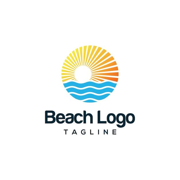 Projektowanie logo plaży Premium Wektorów