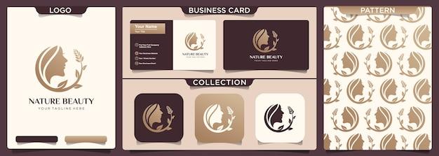 Projektowanie Logo Spa Natura Salon Fryzjerski Kobieta. Premium Wektorów