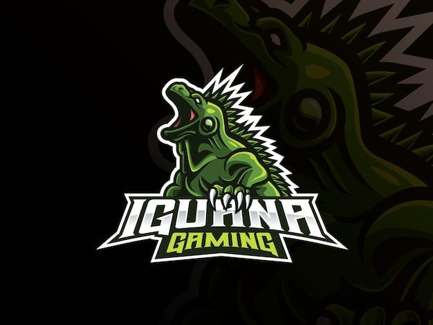 Projektowanie Logo Sport Maskotka Iguana Premium Wektorów