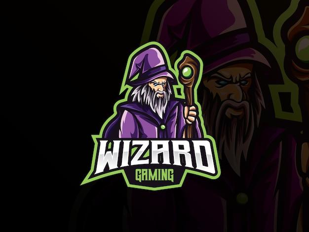 Projektowanie Logo Sport Maskotka Wizard Premium Wektorów