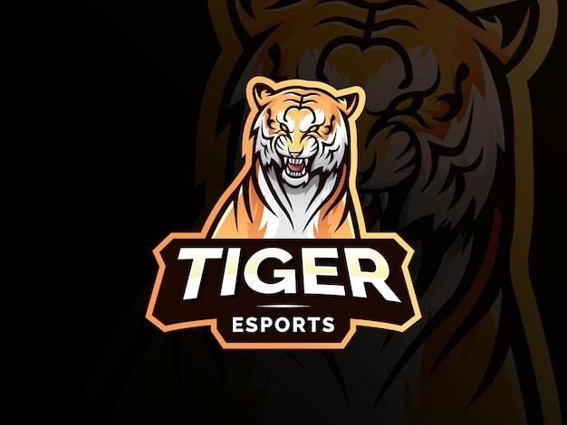 Projektowanie Logo Sportu Maskotka Tygrys Premium Wektorów