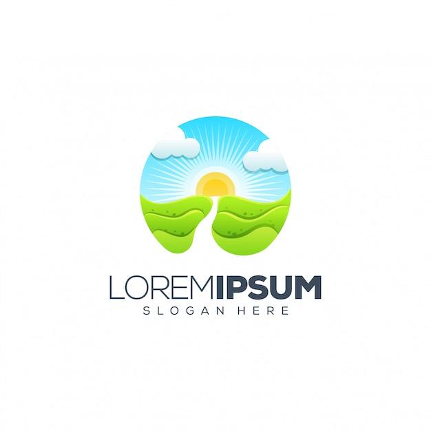 Projektowanie logo sunset Premium Wektorów