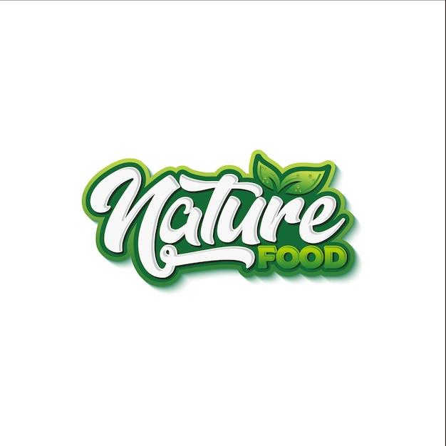 Projektowanie logo typografii naturalnej żywności Premium Wektorów