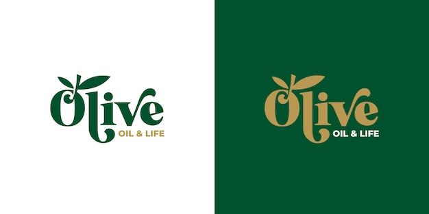 Projektowanie logo typografii oliwy z oliwek Premium Wektorów