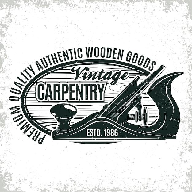 Projektowanie Logo Vintage Do Obróbki Drewna Premium Wektorów