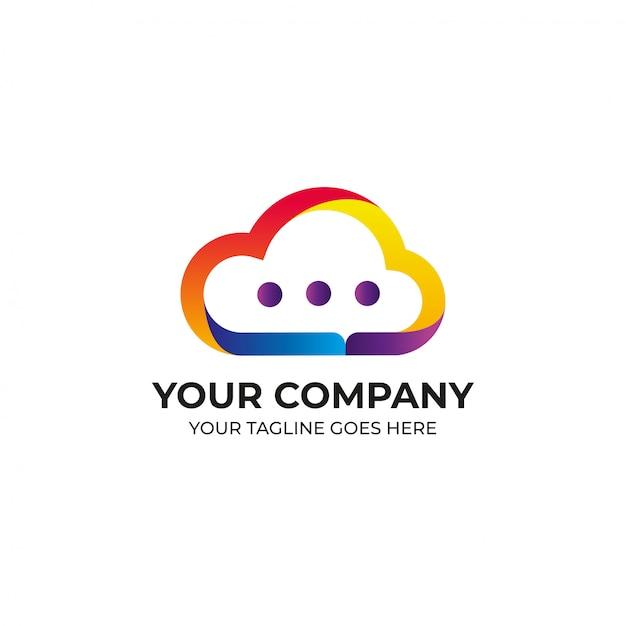 Projektowanie Logo W Kolorze Chmury Premium Wektorów