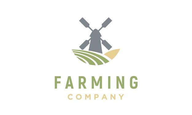 Projektowanie Logo Wiatrak I Farm Premium Wektorów