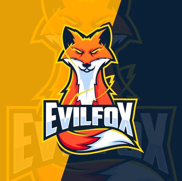 Projektowanie Logo Zła Fox Maskotka Premium Wektorów
