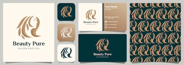 Projektowanie Logo Złoty Salon Fryzjerski Kobieta Premium Wektorów