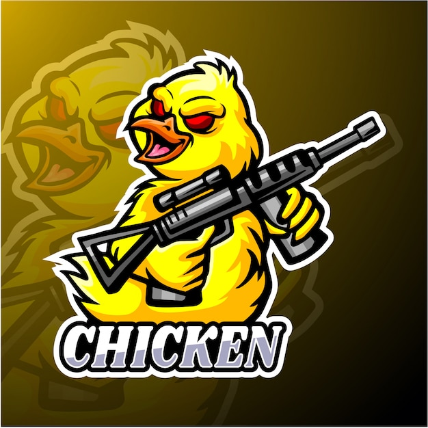 Projektowanie Maskotka Logo E-kurczaka Premium Wektorów