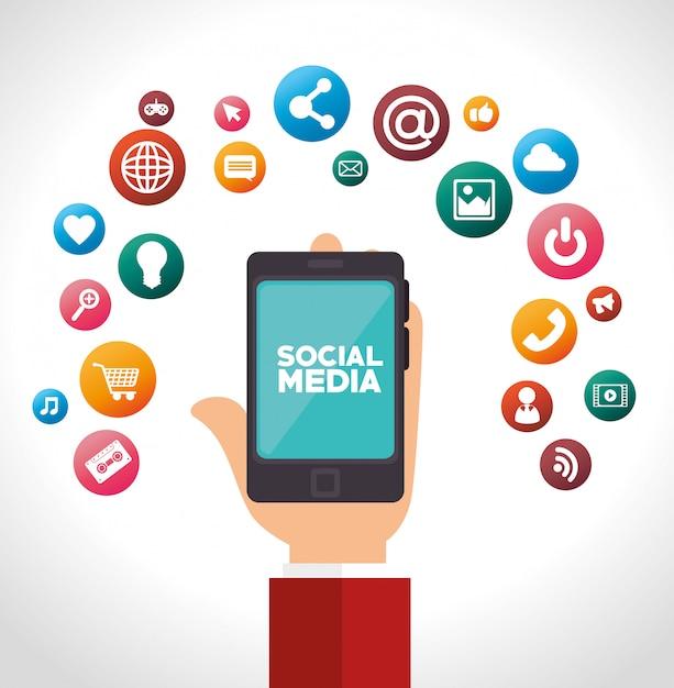 Projektowanie mediów społecznościowych Premium Wektorów
