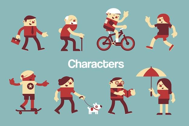 Projektowanie postaci różne osoby na świeżym powietrzu. Premium Wektorów