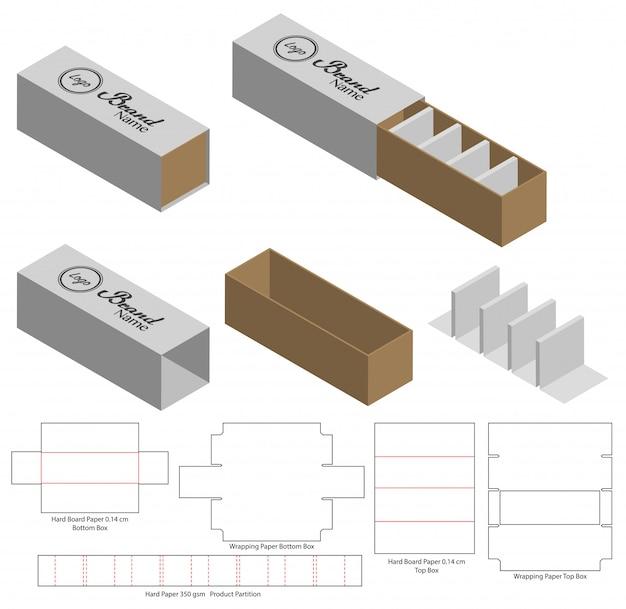 Projektowanie szablonów wycinanych w pudełku. 3d makiety Premium Wektorów