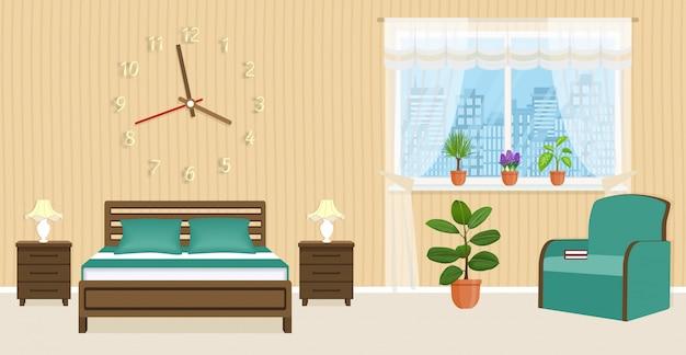 Projektowanie Wnętrz Sypialni Z łóżkiem, Stolikami Nocnymi, Fotelem I Dużym Zegarem Na ścianie. Premium Wektorów