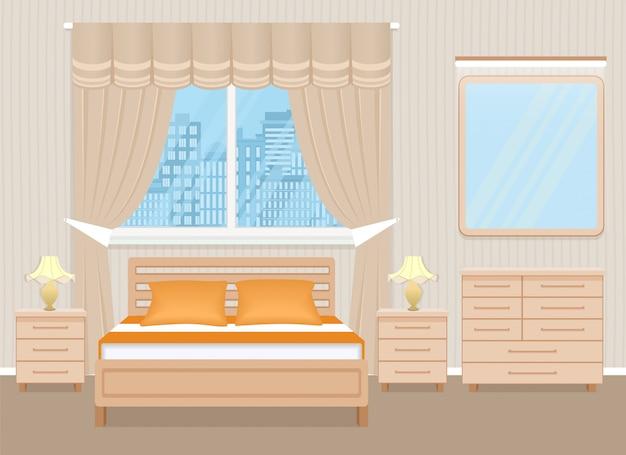 Projektowanie Wnętrz Sypialni Z łóżkiem, Stolikami Nocnymi, Komodą I Lustrem. Premium Wektorów
