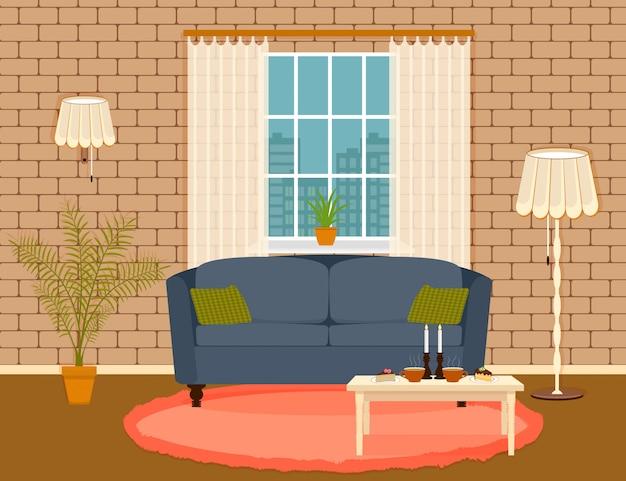 Projektowanie Wnętrz W Stylu Płaskiego Salonu Z Meblami, Sofą, Stołem, Rośliną Doniczkową, Lampą I Oknem. Premium Wektorów