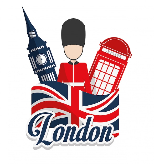 Projektowanie zabytków londynu Premium Wektorów