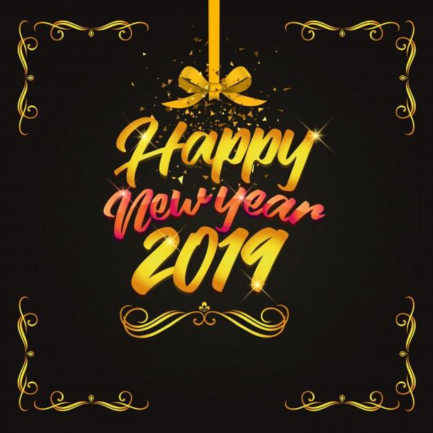 Projektuje złocistego szczęśliwego nowego roku 2019 Premium Wektorów