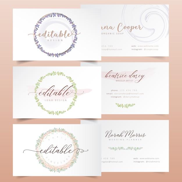 Projekty logo akwarela wieniec kwiatowy Premium Wektorów