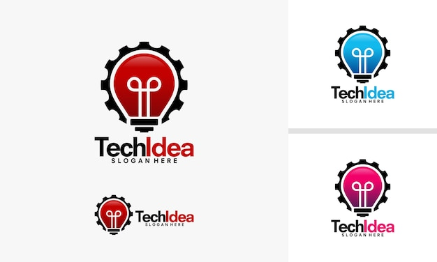 Projekty Logo Technology Idea, Wektor Logo Idea I Gear Premium Wektorów